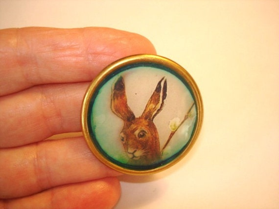 Sale Rabbit in the Pussy Willows Brooch KL Design