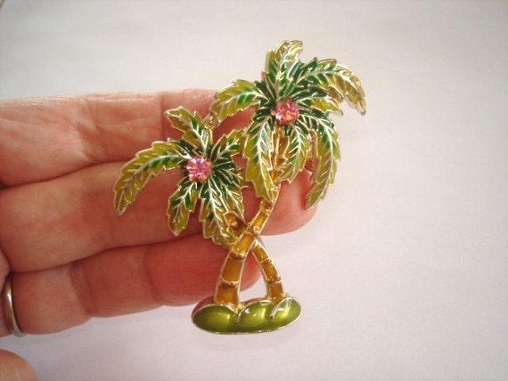 Vintage Jewelry Green Enamel Palm Tree Rose Rhinestones  Brooch and Pendant