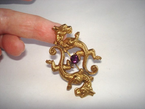 Vintage Celtic Dragons Jewelry Amethyst Glass Stone Animal Brooch Gold  Tone