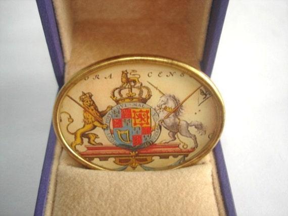 Vintage Jewelry Crest Brooch KL Design