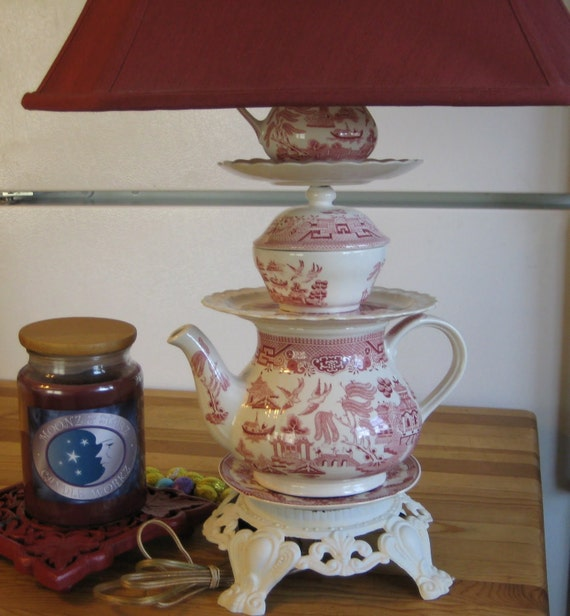 New for spring,ceramic Tea Pot Lamp,ready for the cozy spot in your kitchen