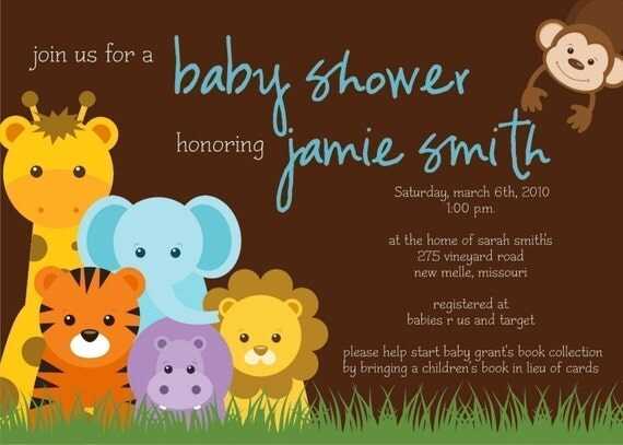 jungle theme baby shower invitation by simplycreativemel on etsy
