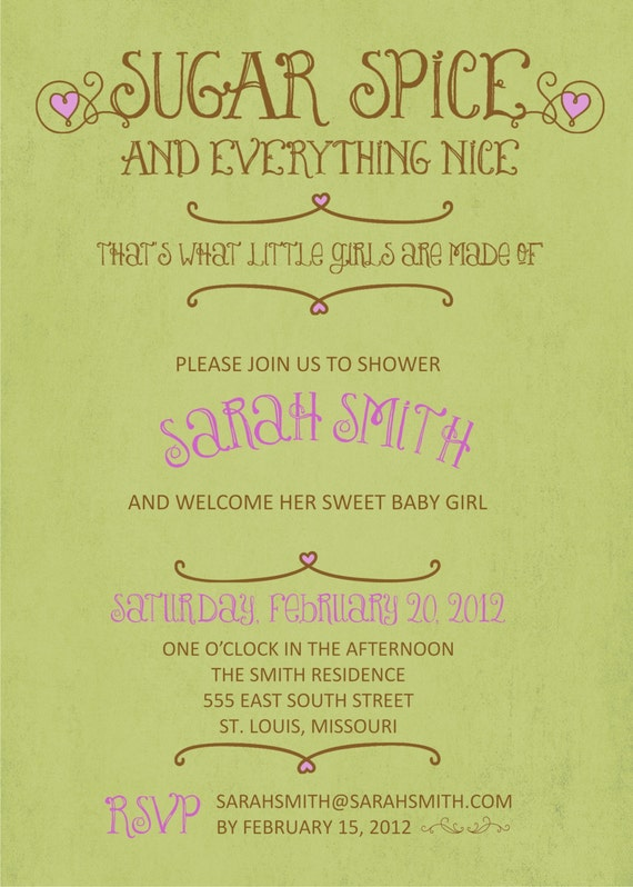 Sugar, Spice and Everything Nice Baby Shower Invite