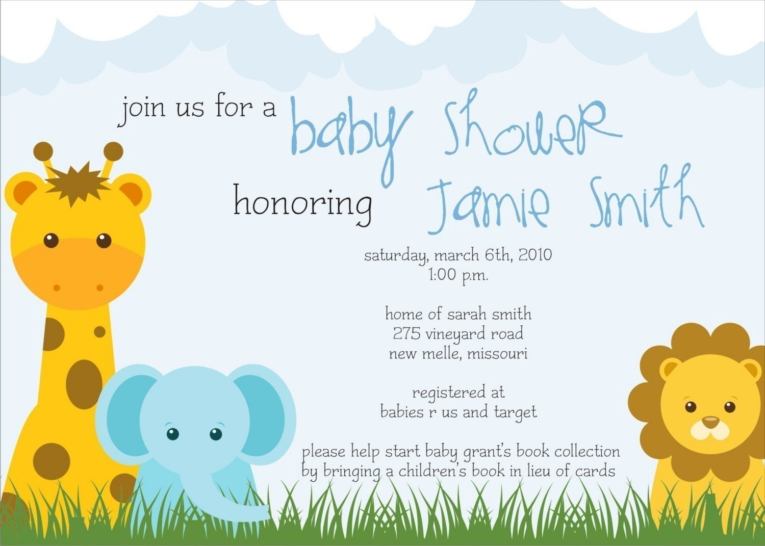 safari theme baby shower invite