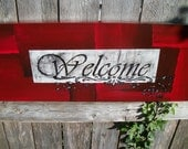 Welcome Sign Red, Black and White on 8x24 canvas