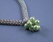SALE Bubbles Chainmaille and Green Bead Necklace