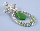 SALE Green and Silver Foliage Pendant