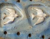 White Birds Doves Blue Sky Flight Start for Coiled Basket