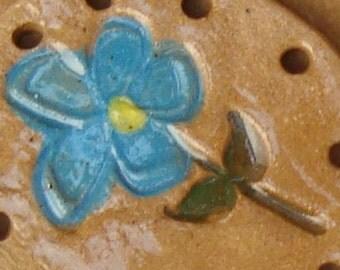 Flower  Ceramic Ornament or Basket Start for Coiling Blue