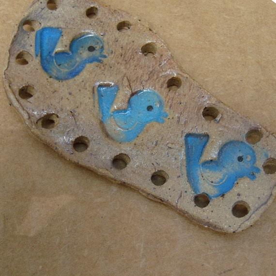 sale Little Blue Birds Pottery Base for Coiled Basket
