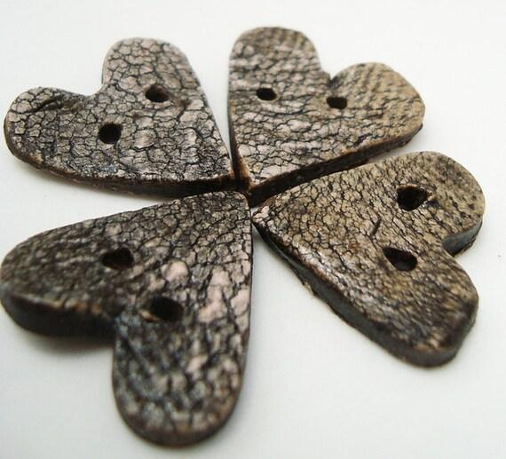 4 Handmade Craggy Heart Buttons Black Bark Textured Stoneware