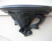 Vintage Shelf Shabby Chic Upcycled Black Paris Apartment French Country Home Decor