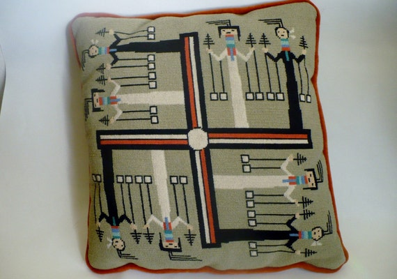 Vintage Needlepoint Pillow Navajo Whirling Logs and Yei Twins  Motif