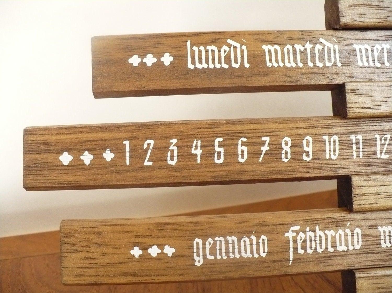 Perpetual Calendar in Italian Wooden Country Rustic