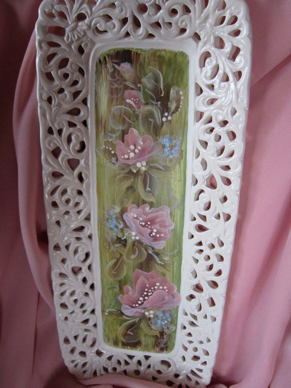 Hand Painted Glass Filigree Tray by MontanaRosePainter,  Wall Hanging, Pink Roses
