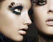 Feather eyelashes - guinea feather eyelashes - false eyelashes - costume design - fashion eyelashes -