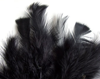 30-40 PCS / MARABOU FLUFF / Black / 4-6 inches tall