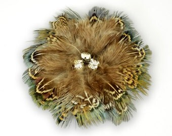 FEATHER FLOWER Pheasant / Brown with Irridescent Green and Blue / Crystal Center