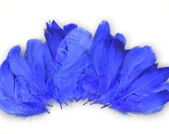 GOOSE FEATHERS Bulk / Royal Blue / Great Value / Assorted Sizes /
