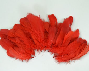 60-80pcs Goose Satinettes loose feathers, 6 grams, RED