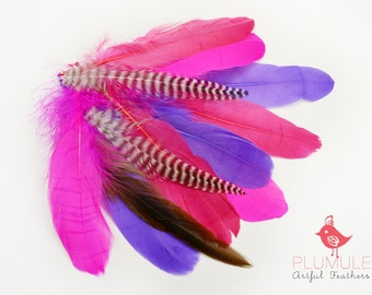 VOGUE GOOSE NAGOIRE feathers Assortment 008, fuchsia, purple and hot pink