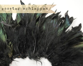 BLACK Half Bronze - Rooster Schlappen Feathers, Naturally Dyed, Unbleached, 5-7 inches tall