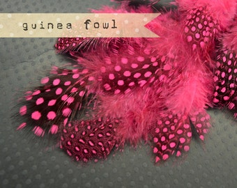 2 Dozen - CARMINE PINK Guinea Fowl plumages, millinery and craft, feather couture.