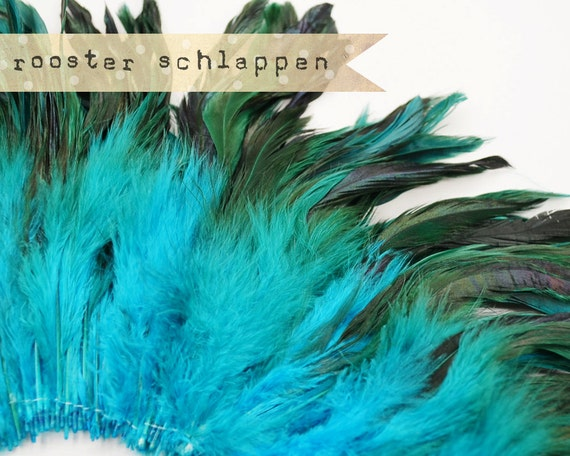 TURQUOISE Half Bronze - Rooster Schlappen, Naturally Dyed, Unbleached, 5-7 inches tall