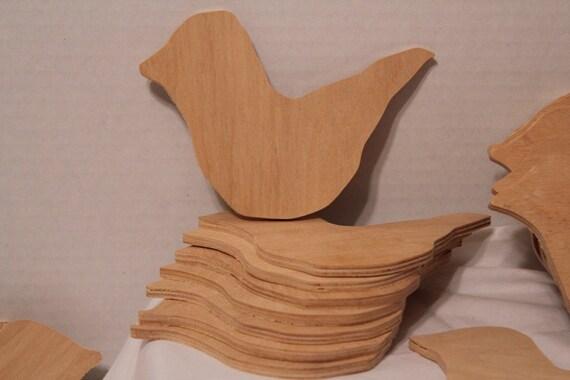 BIRDS Wood Cut Out  Dove Bluebird Blackbird Unfinished 5pcs LOT