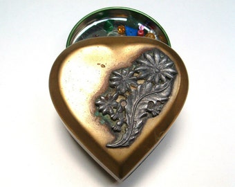 Deco Metal heart  box, jewelry box, Reduced