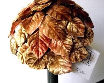 Cocktail hat, Fascinator golden leaves, Hand Made Hat