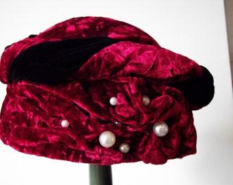 Velvet and Pearl Pillbox Hat Handmade