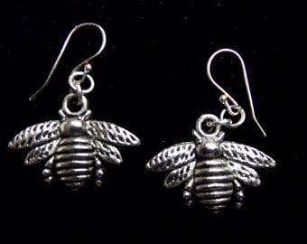 Silver Bee Earrings