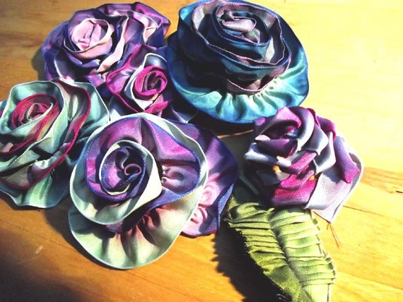French ribbon Flowers for hair, packages, etc