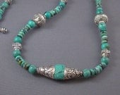 Tibetan Turquoise Silver Capped Bead Necklace