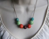 Colorful Chunky Bold Beaded Rainbow Gumball Necklace. Bright. Candy. Modern. Fun. Stylish
