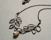 Double Leaf Necklace in Antique Bronze with Ivory Teardrop Pearl. Vintage Inspired. Elegant. Bridal