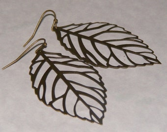 Filigree Earrings. Statement Earrings. Large Bronze Leaf Earrings. Antique Brass. Nature Lover. Nature Inspired. Simple