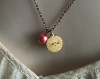 Breast Cancer Necklace. Hope Necklace. Pearl Necklace. Inspirational Jewelry. Hand Stamped Necklace. Personalized Jewelry