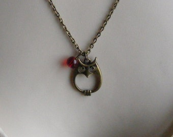 Owl Necklace in Antique Bronze with Ruby Red Glass Czech Bead. Animal. Bird. Hoot. Woodland Creature