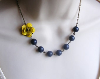 Yellow Necklace. Yellow and Gray Necklace. Flower Necklace. Beaded Necklace. Bridesmaid Necklace. Bridal Jewelry