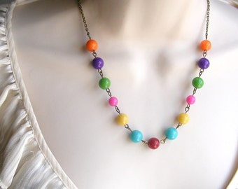 Colorful Beaded Necklace. Gumball Necklace. Rainbow Necklace. Turquoise. Red. Orange. Yellow. Purple. Little Girl Necklace. Photo Prop