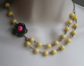 Flower Necklace. Layered Statement Necklace. Yellow Beaded Necklace. Bridal Jewelry. Statement Jewelry. Assymetrical