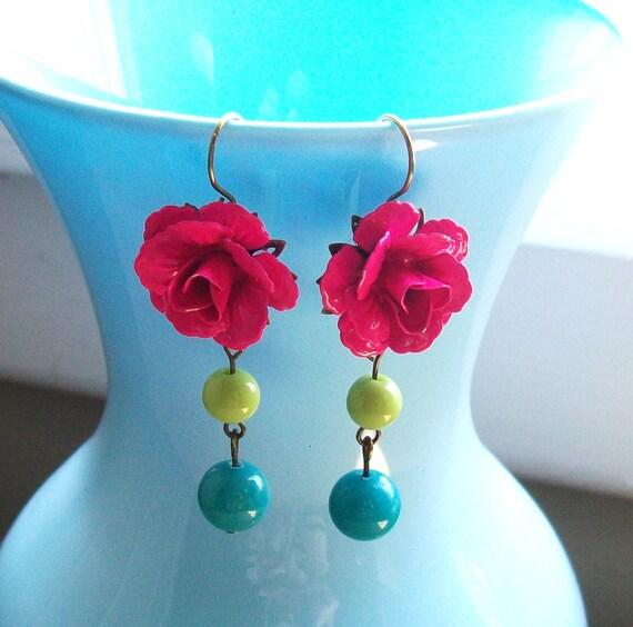 Pink Flower Earrings. Statement Jewelry. Statement Earrings. Flower Dangle Earrings. Large Dangle Earrings. Bridesmaid Jewelry