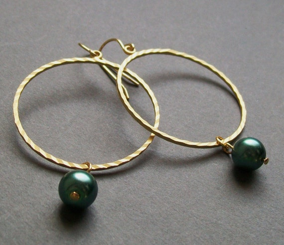 Large Gold Hoop Earrings with Green Pearls. Bridal Jewelry