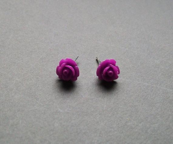 Purple Flower Earrings. Posts. Studs. Purple Rose Earrings. Flower Girl Jewelry. Little Girl.