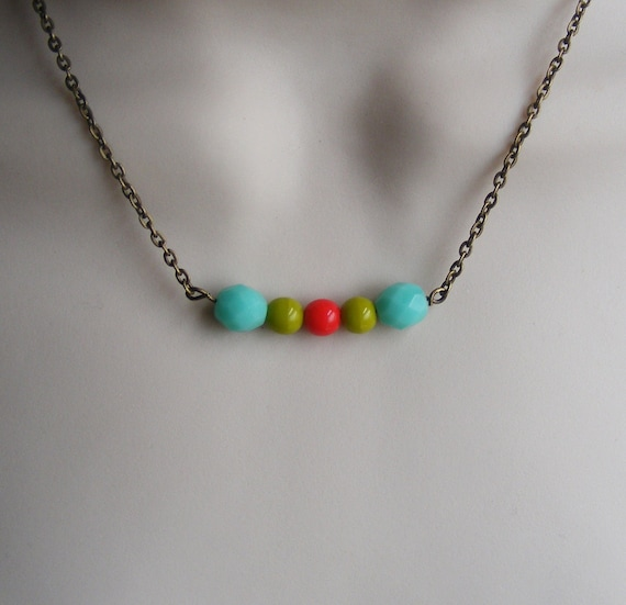 Floating Necklace. Red and Turquoise Necklace. Lime Green. Turquoise Necklace. Simple Necklace. Chartreuse. Beaded Necklace. Lime Green