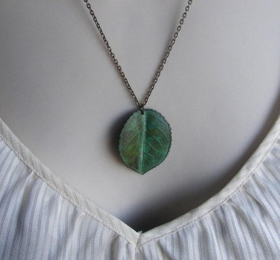 Verdigris Leaf Necklace. Patina Leaf Necklace. Green Necklace. Vintage Inspired Necklace. Nature Inspired.