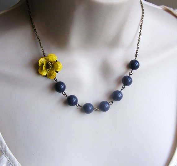 yellow necklace yellow and gray necklace flower necklace