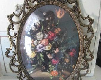 vintage ornate metal frame floral picture france